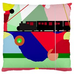 Abstract Train Large Cushion Case (two Sides) by Valentinaart