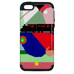 Abstract Train Apple Iphone 5 Hardshell Case (pc+silicone) by Valentinaart