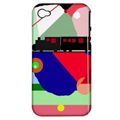 Abstract Train Apple Iphone 4/4s Hardshell Case (pc+silicone) by Valentinaart