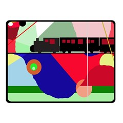 Abstract Train Double Sided Fleece Blanket (small)  by Valentinaart