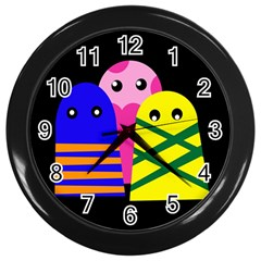 Three Monsters Wall Clocks (black) by Valentinaart