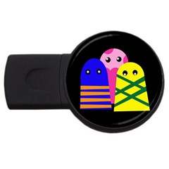 Three Monsters Usb Flash Drive Round (4 Gb)  by Valentinaart