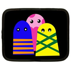 Three Monsters Netbook Case (large) by Valentinaart
