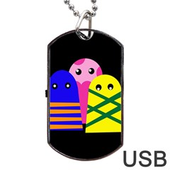 Three Monsters Dog Tag Usb Flash (two Sides)  by Valentinaart