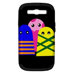 Three Monsters Samsung Galaxy S Iii Hardshell Case (pc+silicone) by Valentinaart