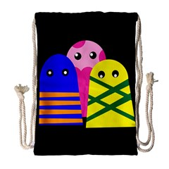 Three Monsters Drawstring Bag (large) by Valentinaart