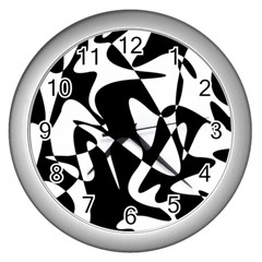 Black And White Elegant Pattern Wall Clocks (silver)  by Valentinaart