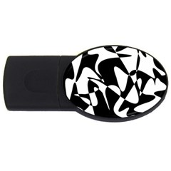 Black And White Elegant Pattern Usb Flash Drive Oval (2 Gb)  by Valentinaart