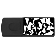 Black And White Elegant Pattern Usb Flash Drive Rectangular (4 Gb)  by Valentinaart