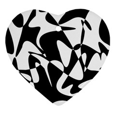 Black And White Elegant Pattern Heart Ornament (2 Sides) by Valentinaart