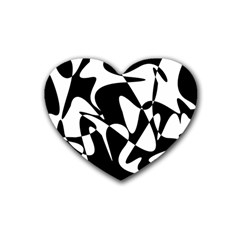 Black And White Elegant Pattern Rubber Coaster (heart)  by Valentinaart