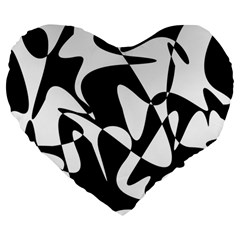 Black And White Elegant Pattern Large 19  Premium Heart Shape Cushions by Valentinaart