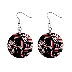 Red, Black And White Abstraction Mini Button Earrings by Valentinaart