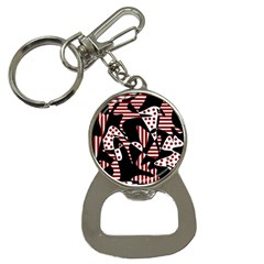 Red, Black And White Abstraction Bottle Opener Key Chains by Valentinaart