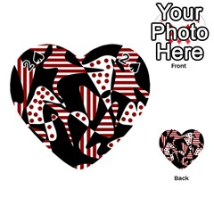 Red, Black And White Abstraction Playing Cards 54 (heart)  by Valentinaart