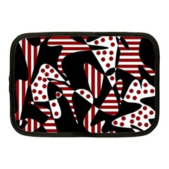 Red, Black And White Abstraction Netbook Case (medium)  by Valentinaart