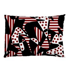 Red, Black And White Abstraction Pillow Case by Valentinaart