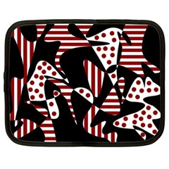 Red, Black And White Abstraction Netbook Case (xl)  by Valentinaart