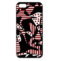 Red, Black And White Abstraction Apple Iphone 5 Seamless Case (black) by Valentinaart