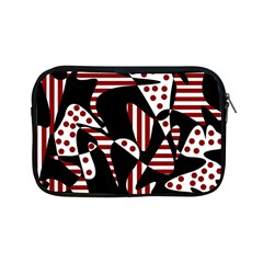 Red, Black And White Abstraction Apple Ipad Mini Zipper Cases by Valentinaart