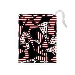 Red, Black And White Abstraction Drawstring Pouches (medium)  by Valentinaart