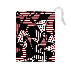 Red, Black And White Abstraction Drawstring Pouches (large)  by Valentinaart