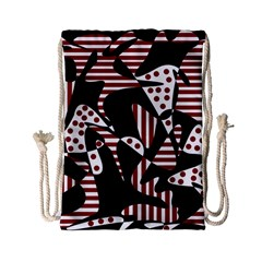 Red, Black And White Abstraction Drawstring Bag (small) by Valentinaart