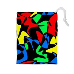 Colorful Abstraction Drawstring Pouches (large)  by Valentinaart