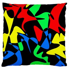 Colorful Abstraction Large Flano Cushion Case (two Sides) by Valentinaart