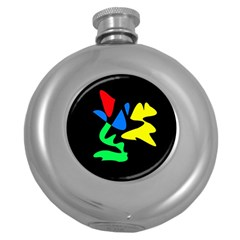 Colorful Abstraction Round Hip Flask (5 Oz) by Valentinaart