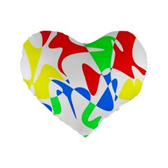 Colorful Abstraction Standard 16  Premium Heart Shape Cushions by Valentinaart