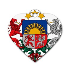 Coat Of Arms Of Latvia Dog Tag Heart (two Sides)