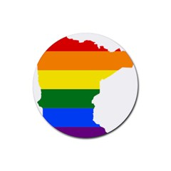 Lgbt Flag Map Of Minnesota  Rubber Round Coaster (4 Pack)  by abbeyz71