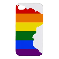 Lgbt Flag Map Of Minnesota  Apple Iphone 4/4s Premium Hardshell Case by abbeyz71