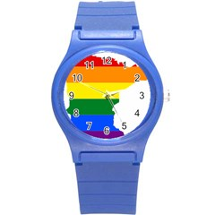 Lgbt Flag Map Of Minnesota  Round Plastic Sport Watch (s)