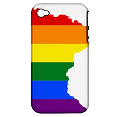 Lgbt Flag Map Of Minnesota  Apple Iphone 4/4s Hardshell Case (pc+silicone) by abbeyz71