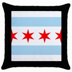 Flag Of Chicago Throw Pillow Case (black) by abbeyz71