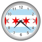 Flag Of Chicago Wall Clocks (Silver)  Front