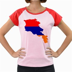 Flag Map Of Armenia  Women s Cap Sleeve T Shirt by abbeyz71