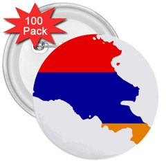 Flag Map Of Armenia  3  Buttons (100 Pack)  by abbeyz71