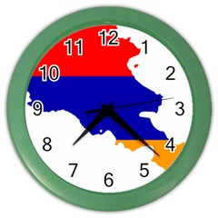 Flag Map Of Armenia  Color Wall Clocks by abbeyz71