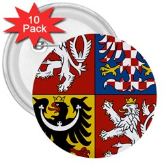 Coat Of Arms Of The Czech Republic 3  Buttons (10 Pack)  by abbeyz71