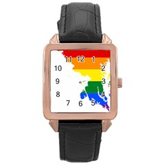 Lgbt Flag Map Of Maryland  Rose Gold Leather Watch  by abbeyz71
