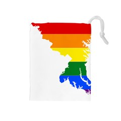 Lgbt Flag Map Of Maryland  Drawstring Pouches (medium)  by abbeyz71