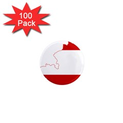 Flag Map Of Austria 1  Mini Magnets (100 Pack)