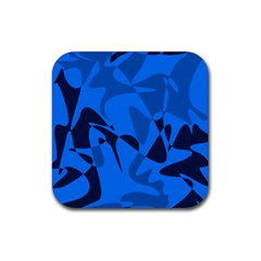 Blue Pattern Rubber Coaster (square)