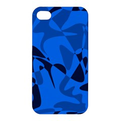 Blue Pattern Apple Iphone 4/4s Premium Hardshell Case by Valentinaart