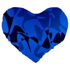 Blue Pattern Large 19  Premium Heart Shape Cushions by Valentinaart