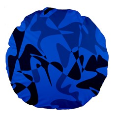 Blue Pattern Large 18  Premium Flano Round Cushions by Valentinaart