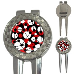 Red, Black And White Pattern 3 In 1 Golf Divots by Valentinaart